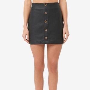 Leather mini skirt with button details